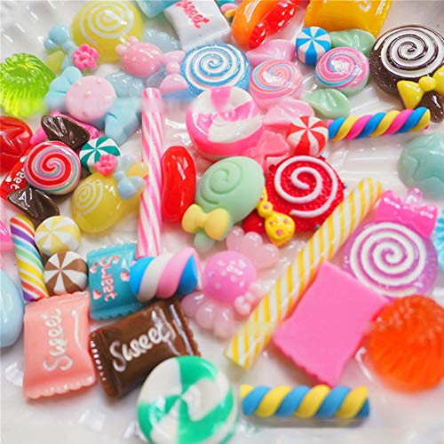 Artificial Candy - Studyset 100pcs/Set Artificial Food Lollipop Candy Decor Figurine Toys Dollhouse DIY Phone Case Accessories Fine Candy 100pcs