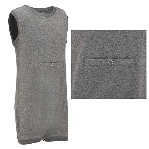 Special Needs Clothing w/Tube Access For Older Children (2-16 yrs Old) - Sleeveless Bodysuit For Boys & Girls by KayCey - Grey (13-14 Years Old) (Marks And Spencer T-shirt)