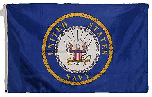 ALBATROS 3 ft x 5 ft US United States Navy Emblem 210D-S Nylon Premium Flag Grommets for Home and Parades, Official Party, All Weather Indoors Outdoors