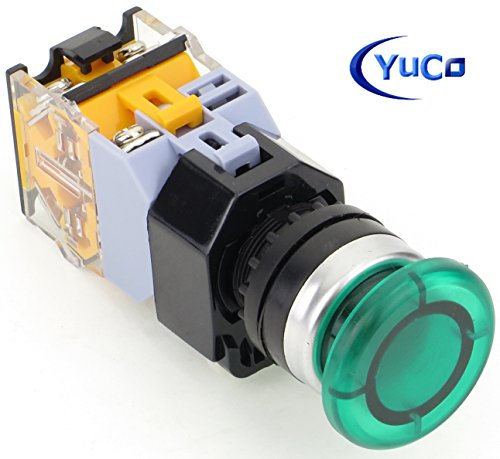 Yuco YC-P22PMMA-MIG-2 Green Illuminated 22mm Push Button with 35mm Mushroom Cap Maintained Switch Action 1 N.O. 1 N.C. Contact Blocks Included, 120V AC/DC