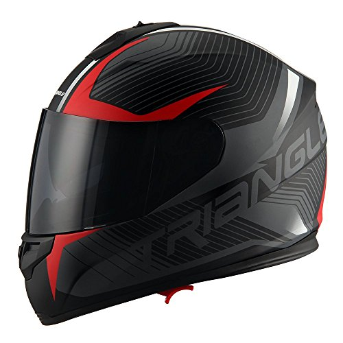 Triangle Full Face Dual Visor Matte Black Street Bike Motorcycle Helmet (X-Large, Matte - Triangle Face