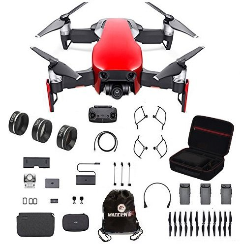 DJI Mavic Air Fly More Combo Travel Bundle Flame red with Lens filter 3 piece set and Professional Case and more.(Red)