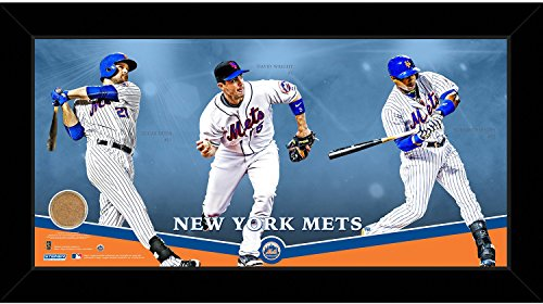 New York Mets Players Composition Graphic 10x20 Framed Collage w/Game Used Dirt from Citi Field (Dirt Graphic)
