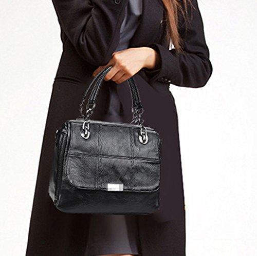 Moda Mujer PU Cuero Satchel Señora Bolsa De Hombro Bolsa Bolso Top Handle Bolsa Black
