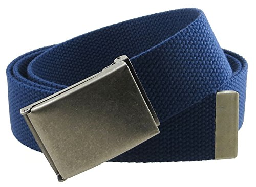 Canvas Web Belt Flip-Top Antique Silver Buckle/Tip Solid Color 50