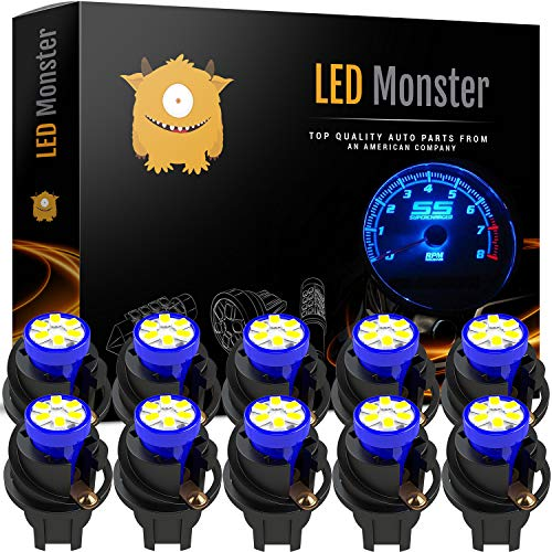 ⭐️ LED Monster T10 194 LED Light bulb 168 LED Bulbs Bright Instrument Panel Gauge Cluster Dashboard LED Light Bulbs Set 10 T10 LED Bulbs with 10 Twist Lock Socket – Blue