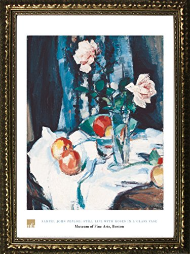 Framed Still Life with Roses in A Glass Vase by Samuel John People 32x24 Art Print Poster Still Life Floral Fruit from Museum of Fine Arts Boston Collection