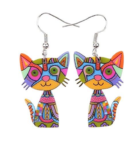Hot sale! Drop Cat Acrylic Earrings Big Long Dangle Earring 2017 Fashion Jewelry For Women Girl New Style Cute Animal Accessories (Daisy Duck Girls Costume)