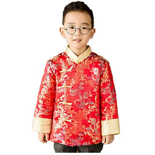 - Chinese Traditional Children Coat Dragon Boy Greatcoat Jacket Outfits Spring Festival (XL(10)) Red