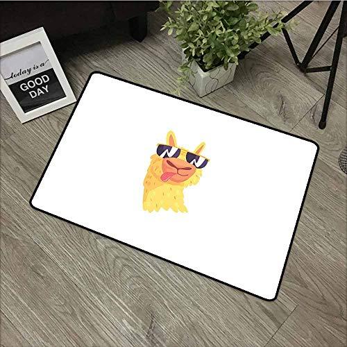 LOVEEO Outdoor Doormat,Llama Funny Sunglasses Wearing Farm Animal Cartoon Character South American Mascot Design,Customize Door mats for Home Mat,24