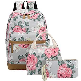 BLUBOON School Backpack Set Canvas Teen Girls Bookbags 15 inches Laptop Backpack Kids Lunch Tote Bag Clutch Purse (Big Floral - Gray)