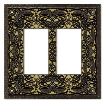 Filigree Double-GFI Switch Plate in Antique Brass