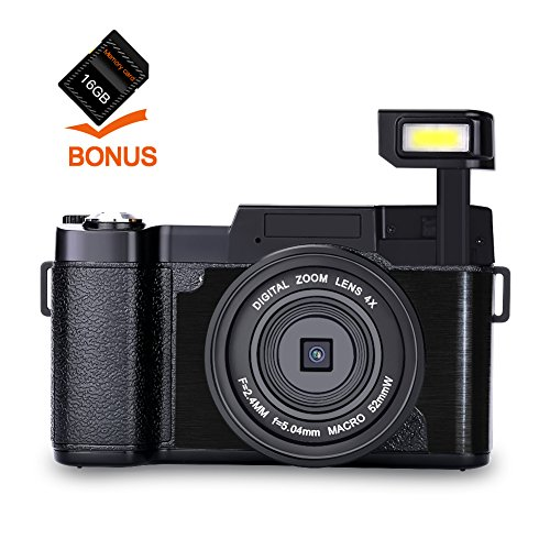 Digital Camera Camcorder Full HD 1080p 24MP Video Camera 3.0-Inch LCD Mini Video Camcorders with 16GB SD Card And UV Lens by Gongpon