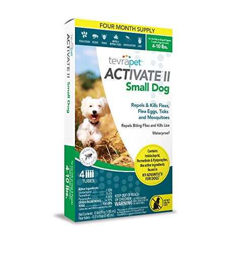 TevraPet Activate II Flea and Tick Topical, Small Dogs 4-10 Pounds, 4 Count