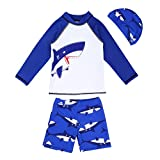 iiniim Kids Boys Shark Printed Rash Guard Swimsuit Long Sleeve Top Shirt with Board Shorts Swin Hat Set White & Blue 5-6