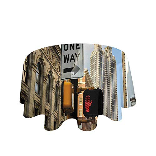 City Easy Care Leakproof and Durable Tablecloth One Way Sign in Front of Atlanta Skyline Downtown Apartments Urban View Outdoor Picnic D70 Inch Ivory Black Pale Blue