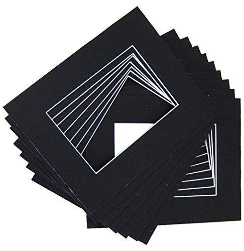 Pre Cut Mat - 10 of 18x24 Black Pre-cut Acid-free whitecore mat for 13x19 + back+bag