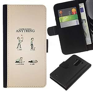 LECELL--Cuero de la tarjeta la carpeta del tirón Smartphone Slots Protección Holder For LG G3 -- Guía divertido --