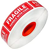 Red Fragile Warning Stickers for Safe Shipping Packing of Goods with Clear Large Font Text and Strong Adhesive Backside | 1 Roll 1000 Labels 1 x 3 (1000)