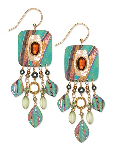 Earrings for Women with Teal/Amber Beads, Stunning Mystical Falls Design with Hypoallergenic Swarovski Crystal and 14k Gold Overlay, Jewelry for Weddings, Birthdays - Holly Yash