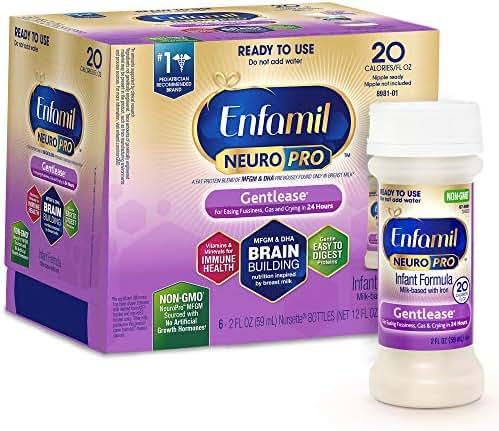 Enfamil NeuroPro Gentlease Ready to Feed Baby Formula Gentle Milk, 2 fluid ounce Nursette (6 count) - MFGM, Omega 3 DHA, Probiotics, Iron & Immune Support