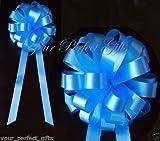 10 BLUE WEDDING 8'' PULL PEW BOW BRIDAL DECORATION CAR