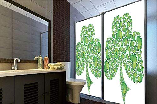 Trinity Patterns (Horrisophie dodo 3D Privacy Window Film No Glue,Celtic,Irish Shamrock Figure Made with Small Clover Patterns Holy Trinity Symbol Graphic,Green White,70.86