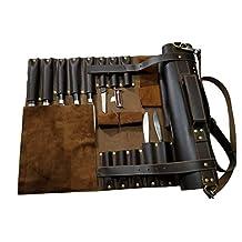 Lightweight Genuine Dark Brown Leather 16 Pockets Chef Knife Bag/Chef Knife Roll