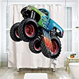 scocici DIY Bathroom Curtain Personality Privacy Convenience,Cars,Cartoon Monster Truck Cool Vehicle Modified to The Perfection Colorful Design Decorative,Aqua Green Black,78.7' x 72'