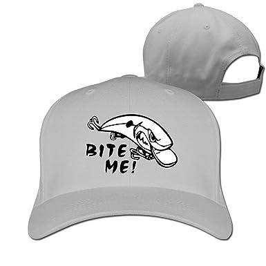 c3ea1d735d9 Bite Me Fishing Lure Unisex Hat Adult Baseball Hat Outdoor Sport Cap at  Amazon Men s Clothing store