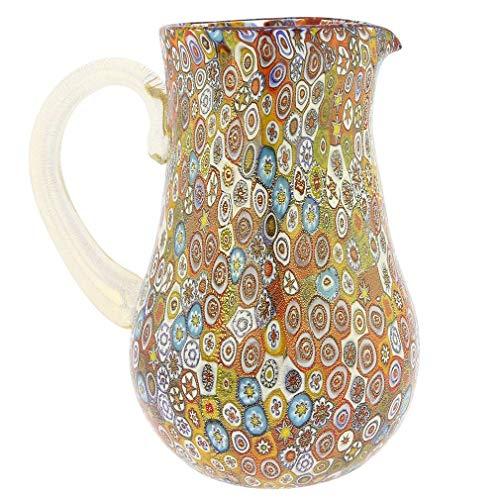 GlassOfVenice Murano Glass Golden Quilt Millefiori Pitcher/Carafe ()