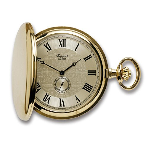 Vintage Pocket Watch with Chain by Rapport - Classic Oxford Hunter Case Pocket Watch with Sub-Seconds - -
