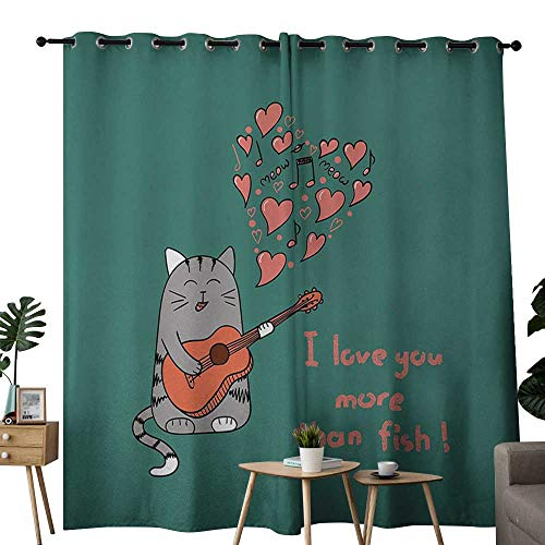 (NUOMANAN Light Blocking Curtains I Love You More,Cartoon Singing Cat with Guitar More Than Fish Song Music Notes and Hearts,Multicolor,for Bedroom, Kitchen, Living Room)