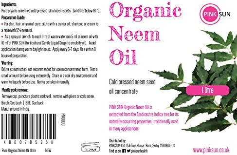 PINK SUN Aceite de Neem Puro Orgánico 1 Litro Virgen Prensado en ...