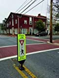 Shur-Tite''Yield to Pedestrians in Crosswalk'' Safety Panel, Self-Correcting, w/Permanent Fixed Base