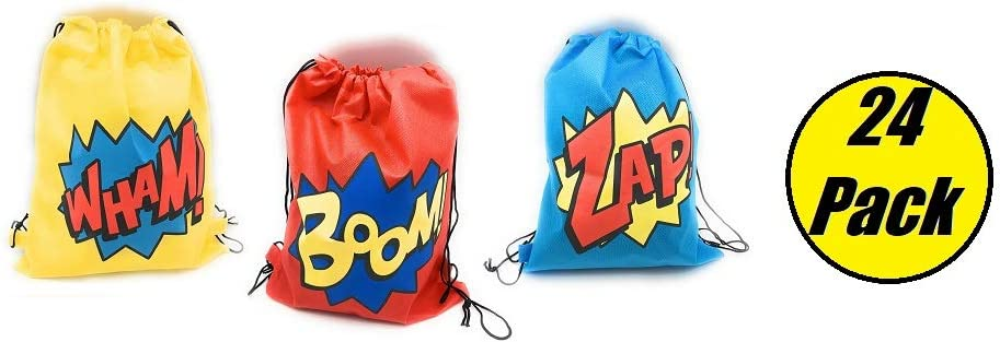 24 Pack Superhero Party Supplies Party Favor Goody Bags Drawstring Backpack Boom! Wham! & Zap! Perfect for the Superhero Party Ideal for Boys and Girls Ideal for School, Birthday, Parties and many many more