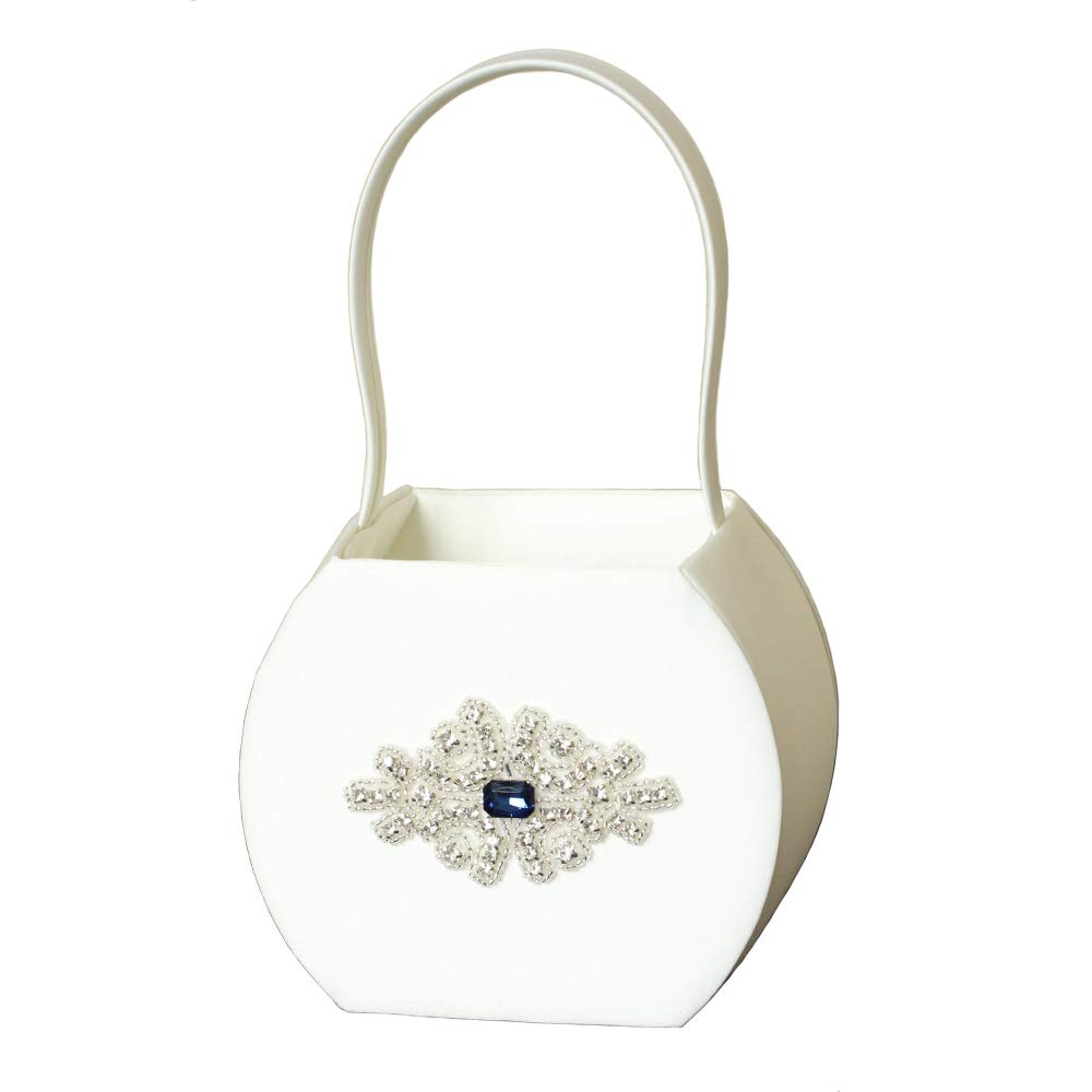 LAPUDA Deep Blue Crystal with Hand-Nailed Beads in a Delicate Retro Wedding Basket, Ivory Color (1 Basket) by LAPUDA