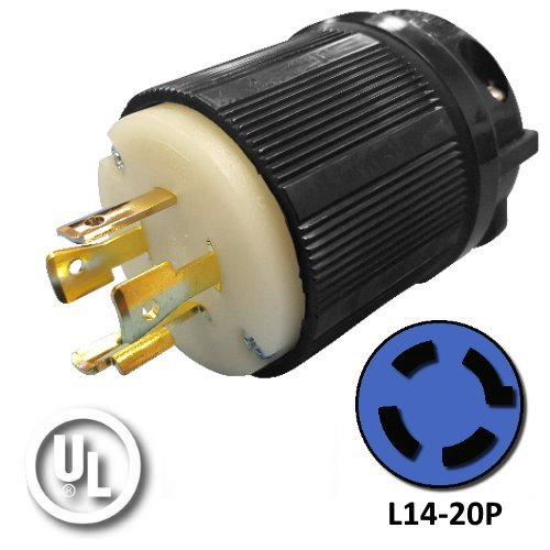 NEMA L14-20P Plug - Rated for 20A, 120/240V, 4-Wire - Iron Box Part # IBX-L1420P by Iron Box