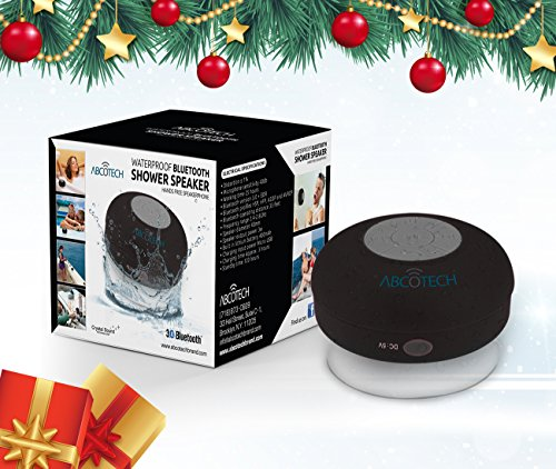 Abco Tech Water Resistant Wireless Bluetooth Shower Speaker with Suction Cup and Hands-Free Speakerphone, Black Gifts For Husbands