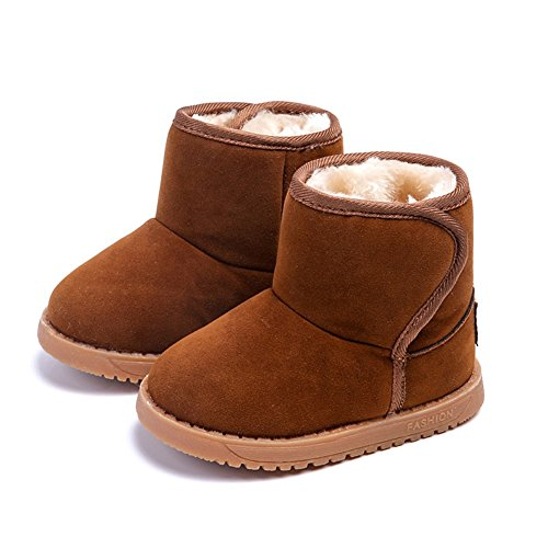 KDHAO Baby Kids Comfortable Casual Shoes Winter Girls Boys Lovely Hiking Snow Boots(Todder/ Little Kid) Brown 5 M Toddler