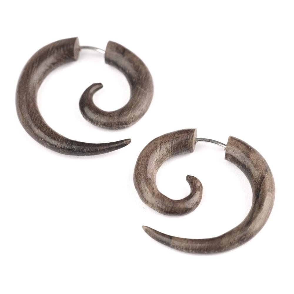 81stgeneration Women's Men's Wood Brown Round 25 mm Spiral Fake Stretcher Tribal Earrings 16asTEW054