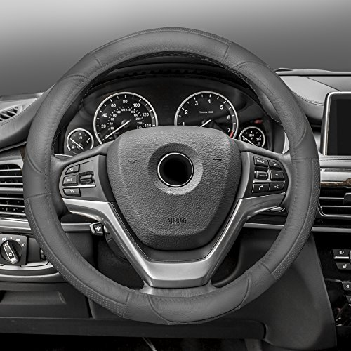 FH Group FH2002SOLIDGRAY Steering Wheel Cover (Deluxe Full Grain Authentic Leather Solid Gray)