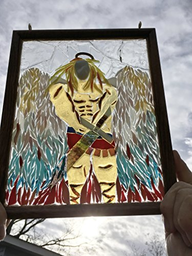 Arch Angel Stained Glass Window Art Sun Catcher, Christian Art by Mountain Mosaics (Image #1)
