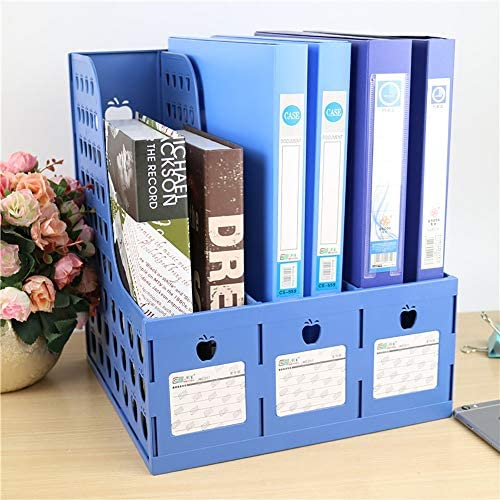 Desktop-Datei-Magazinhalter Desktop 3 Bereiche Kunststoff Magazin Halter Desktop Storage Rack-A4 verdickte Kunststoff Datei Rack-Datei Box-Datei Spalte Data Rack Beleganzeige Dokument Schrank Rack