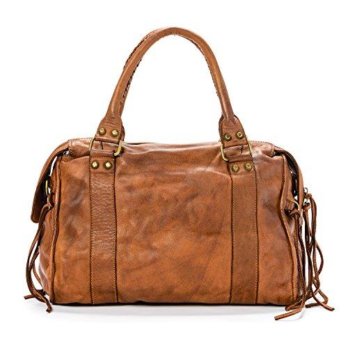 Ira del Valle, Borsa Donna, In Vera Pelle Vintage, Made in Italy, Modello Dallas Bag, Borsa Grande a Mano e Spalla con Tracolla da Donna Ragazza Cognac
