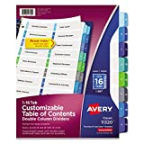 Avery Ready Index Double Column Table of Content Dividers for Laser and Inkjet Printers, 16 tabs, Multi-colour, 1 Set, (11320)