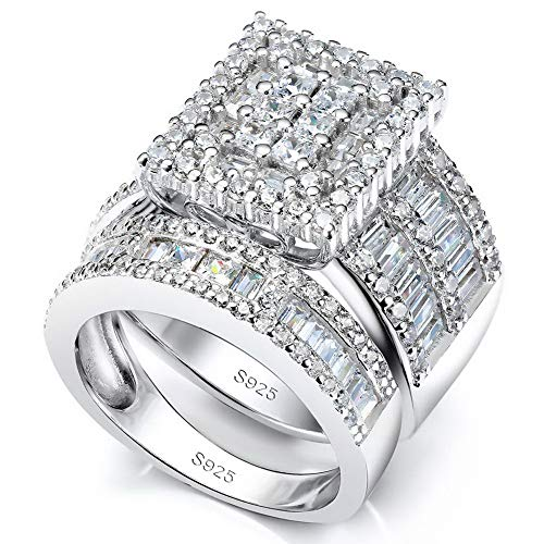 Pophylis Platinum Over Sterling Silver Big Womens Bridal Rings Set Bling Princess Cut Cubic Zirconia Size -