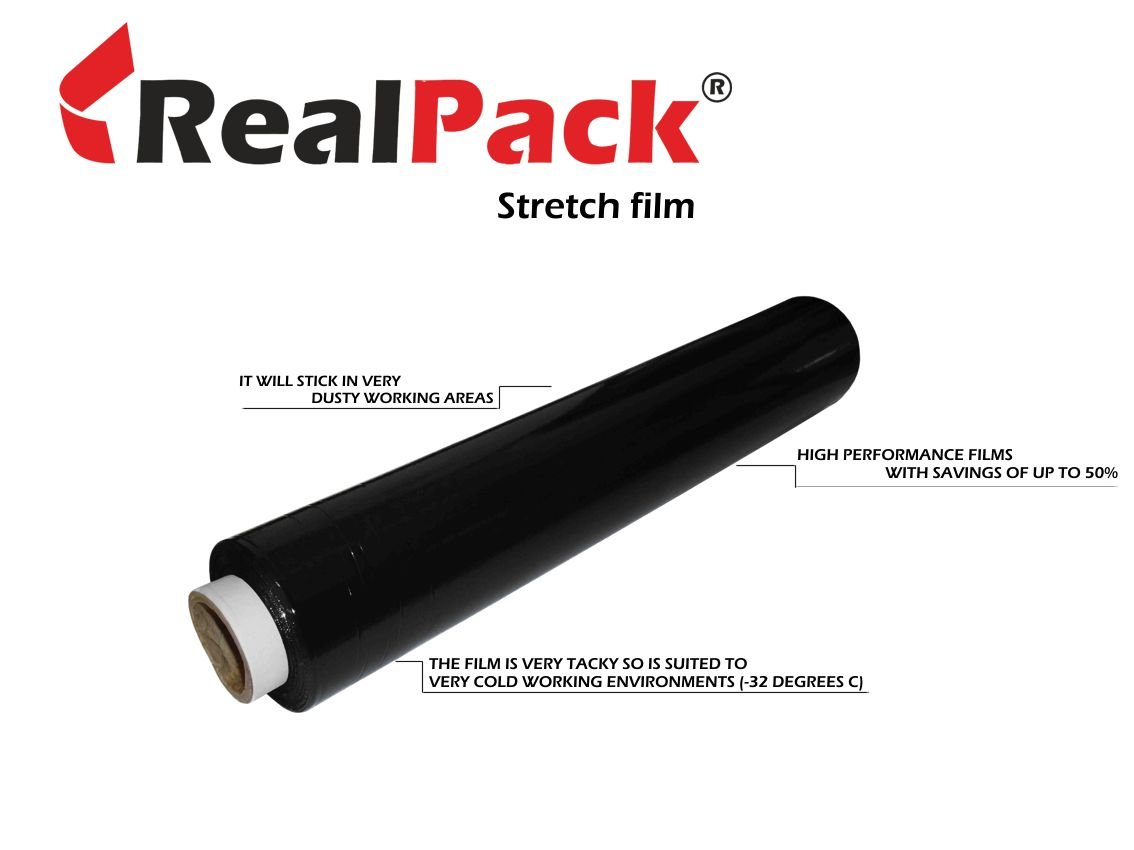 REALPACK® 1 x BLACK FLUSH CORE STRONG ROLLS PALLET STRETCH SHRINK WRAP CAST PARCEL PACKING CLING FILM - 400mm X 300m IDEAL FOR WRAP FREE FAST DELIVERY REALPACK®
