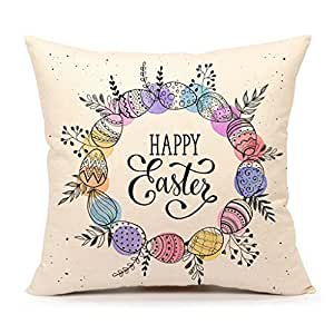 Easter Throw Pillow Covers : Amazon.com: 4TH Emotion Easter Wreath with Eggs Home Decor Throw Pillow Case Cushion Cover 18 x ...