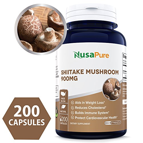 Best Shiitake Mushroom Extract 900mg 200 Capsules (NON-GMO & Gluten Free) Aids in Weight Loss, Reduces Cholesterol, Build Immune System, Protect Cardiovascular Health- 100% MONEY BACK GUARANTEE! Review
